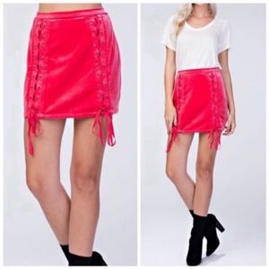 ❤️Holiday Collection! Lace-up velvet skirt.❤️